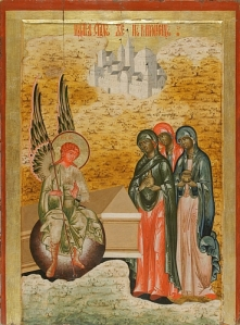 Eastern Orthodox Icon of Mary, Mary Magdalene, and Salome at the grave of Jesus