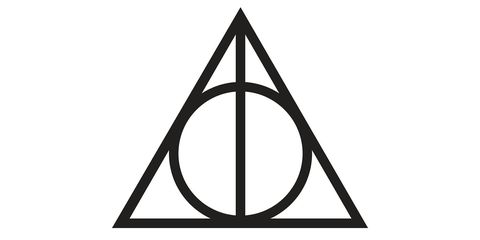 The Deathly Hallows symbol: an equilateral triangle, with a circle inscribed, and a vertical line from the top to the bottom.